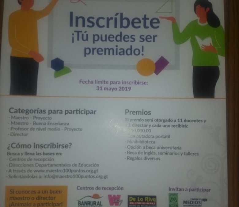 "Abren convocatoria para ""Maestros 100 Puntos"""