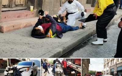Dos mujeres heridas en accidente de tránsito en el Centro Histórico de Xela