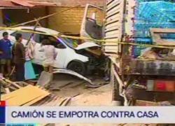 Camión pesado choca contra vivienda y deja cinco heridos
