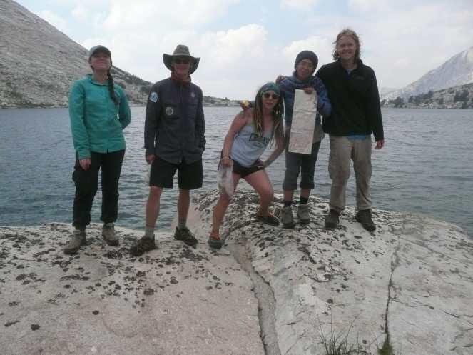 Group photo while hiking in the snowy mountains of California (Summer 2017)