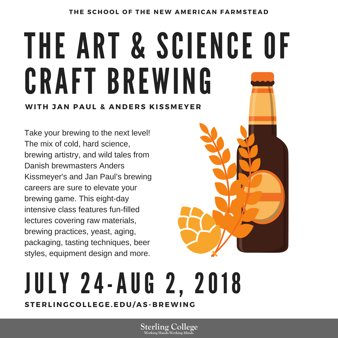 Flyer for the Art & Science of Brewing course offered in July 2018