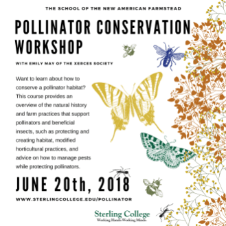 Flyer for Pollinator Conservation Workshop on June 20th, 2018