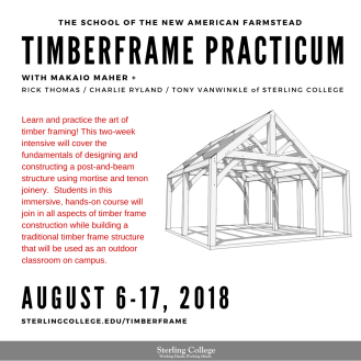 flyer for the 2-week Timberframe intensive