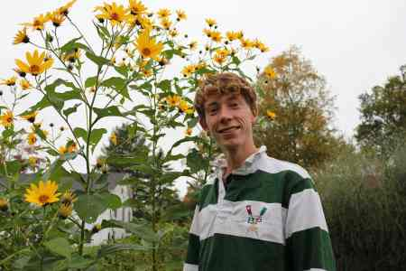 Student with Flowers