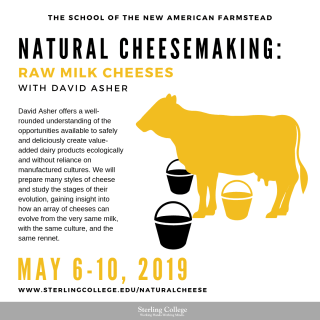 flyer for Raw Milk Cheesemaking course with David Asher