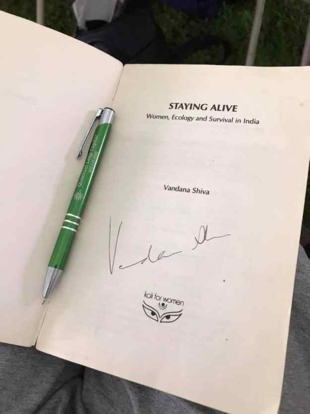 book signed by Vandana Shiva