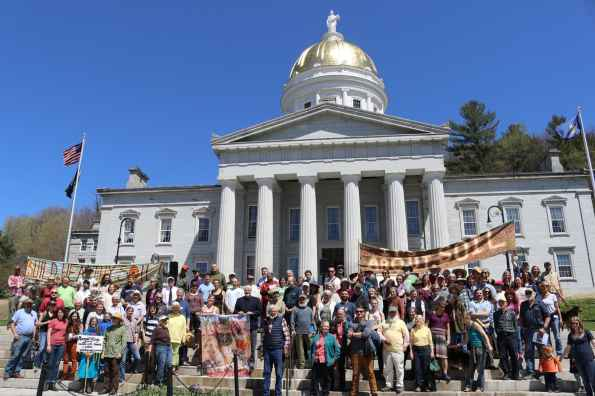 Poison Free Farming advocates on the steps of the capitol, Montpelier, VT