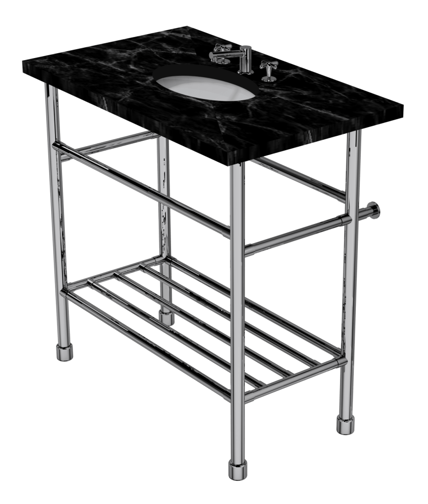 contemporary four leg washstand with rack