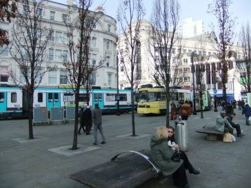 Piccadilly Gardens with two Metrolink trams.