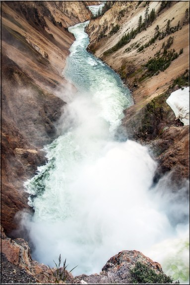 "This is the ""reverse"" view of the Grand Canyon of the Yellowstone, in this case looking from the very brink of the Lower Falls down into the canyon below."