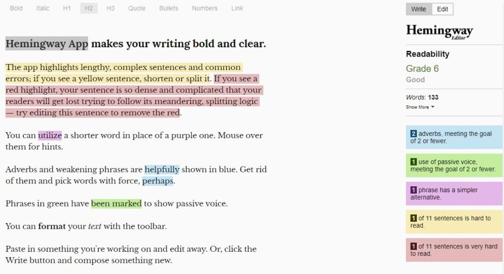 Hemingway App: Make Your Bad Writing Less Bad