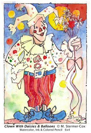 Clown With Daisies And Balloons