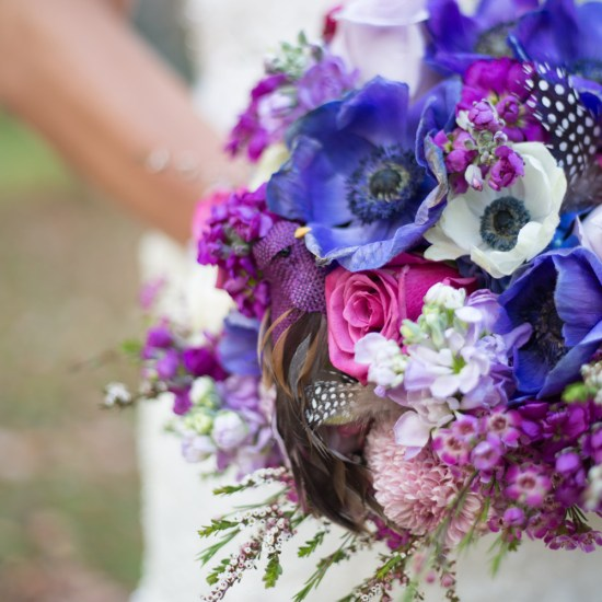 bridal boquet, feathers