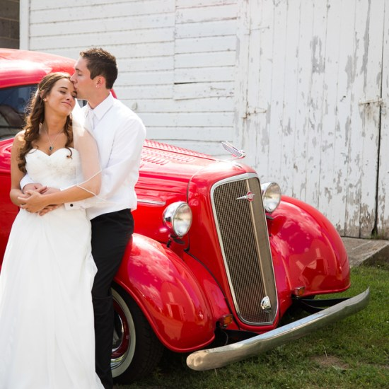 vintage wedding car, barn, vintage red car