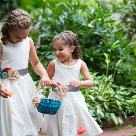 garden wedding, cute flower girls, happy flower girls