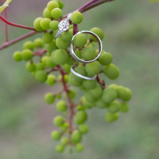 winery wedding details, ring, grapes