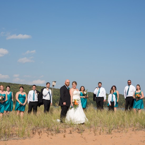 teal, wedding party, beach, bayfield, wi