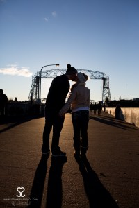 duluth lift bridge aerial arial lift bridge kiss engagement engaged