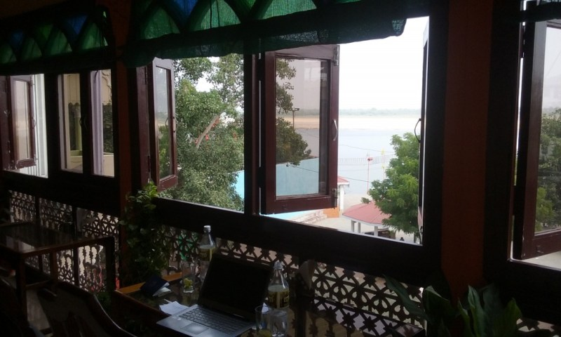 The balcony and view from Sahi River View hotel Varanasi. We didn't mind