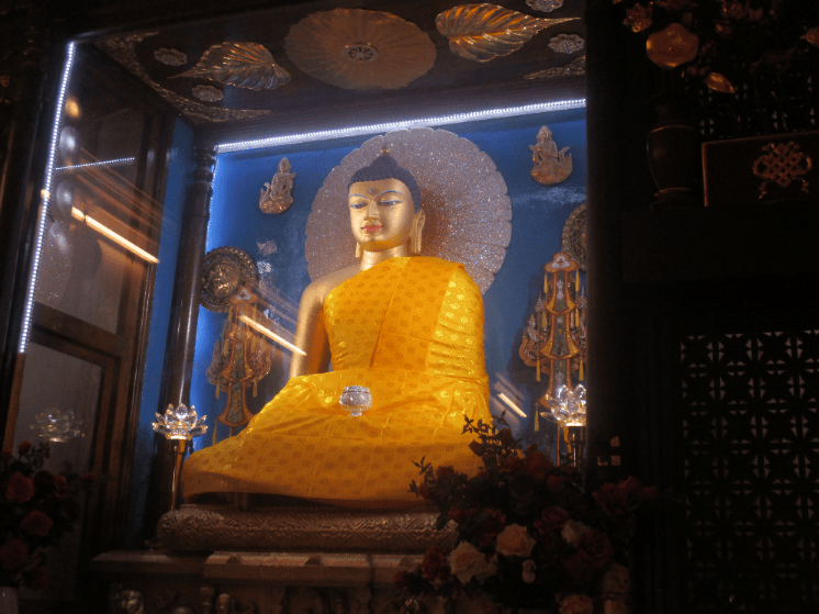 The main Buddah idol inside the Mahabodhi temple