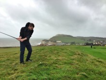 Pitching from the rough at Freshwater Bay Golf Course