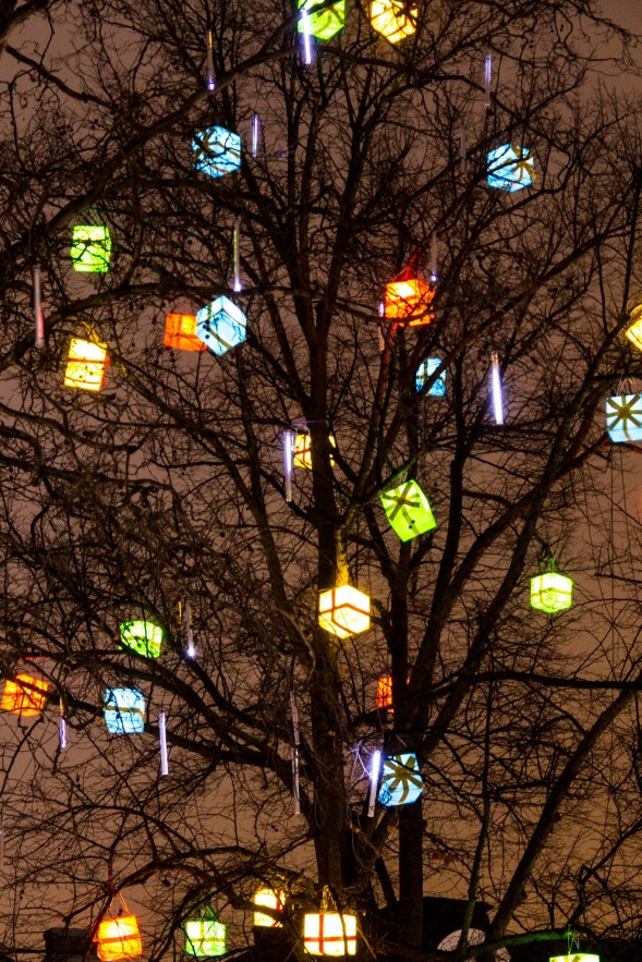 A beautiful sight of a christmas tree in Gustav Adolf torg, Malmo, Sweden