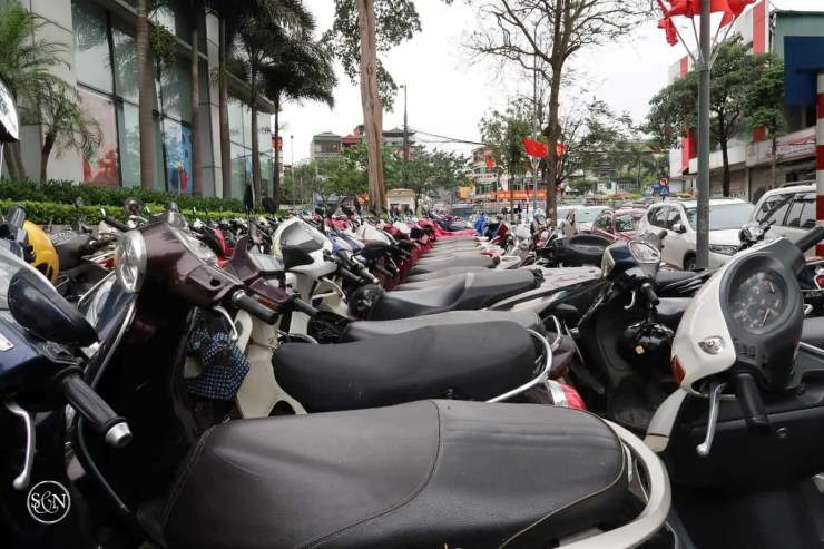 No riders for the scooters in Hanoi