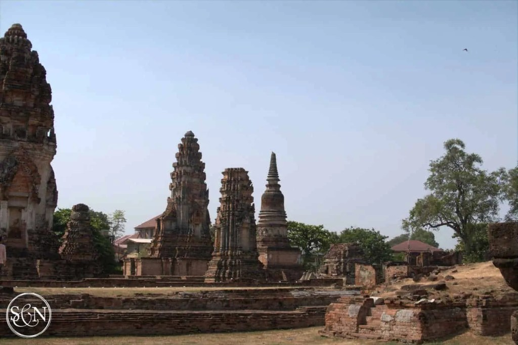 A wide shot of the temple area
