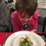 Young entomologist gave thumbs up to many dishes-- but she  wasn't impressed with the mealworm salad topping.  (From Naomi)