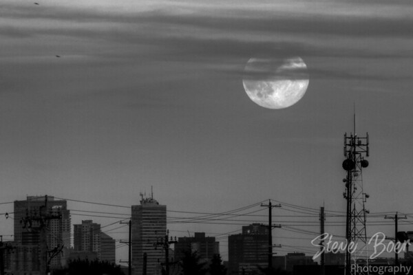 Edmonton skyline moon b&w hdr