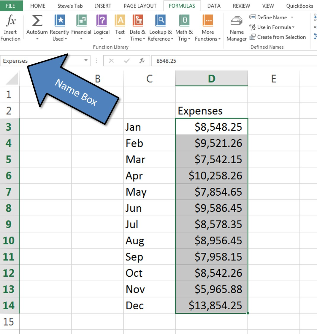 Stay On Top Of Your Excel Formulas By Using Range Names