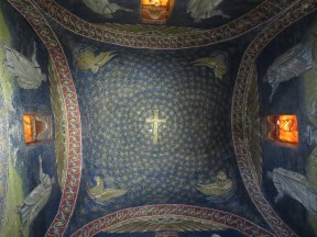 "Ravenna: The Mausoleum of Galla Placidia. Looking up at the dome, the original ""Starry Night."""