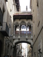 Barcelona: Bridge in Barri Gotic.