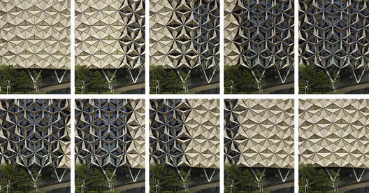 Mashrabiya' facade at Al Bahr Towers, Abu Dhabi, UAE. Architecture: Aedas UK. Image © Christian Richters