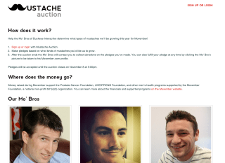 Homepage of the Mustache Auction Laravel app
