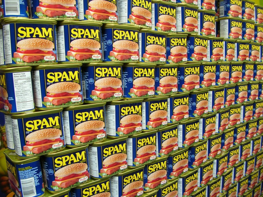 A wall filled with cans of spam.