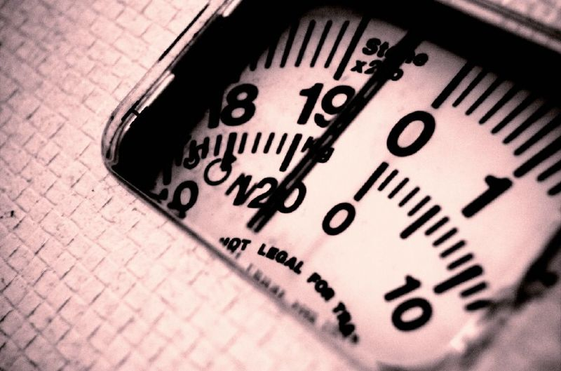 Stylized photo of an analog bathroom scale