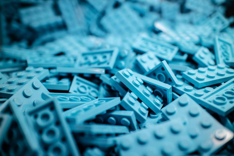A pile of LEGO bricks, ready to be constructed into something great (and blue).