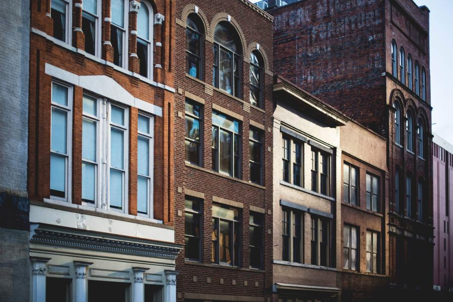A row of old, brick buildings in Nashville, TN