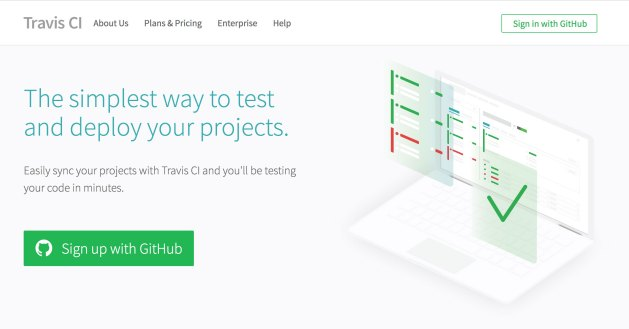 "The Travis CI homepage, with a big ""Sign Up with GitHub"" button"