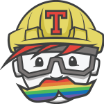 "The ""Pride"" version of the Travis CI mascot, with a rainbow mustache"