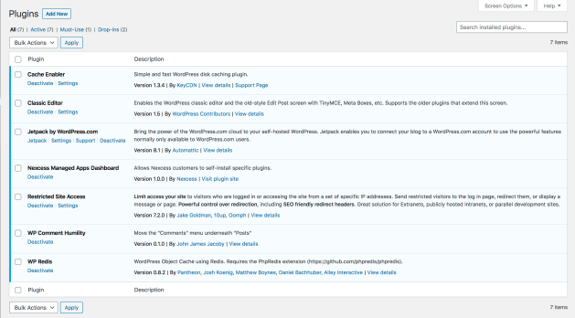 The WP Admin plugins screen for my private, family blog