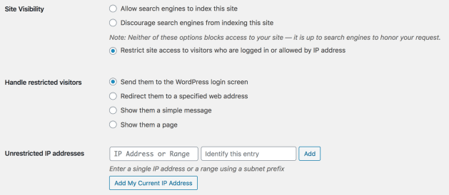 "The WordPress ""Reading Settings"" screen with Restricted Site Access activated"