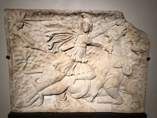 A relief of Mithras, who was regarded as the guardian of the Roman Empire, from the mid-2nd century