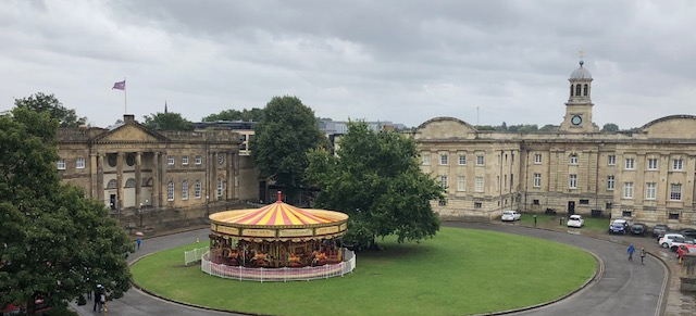 York Castle Museum on the left, and a carousel in front of it