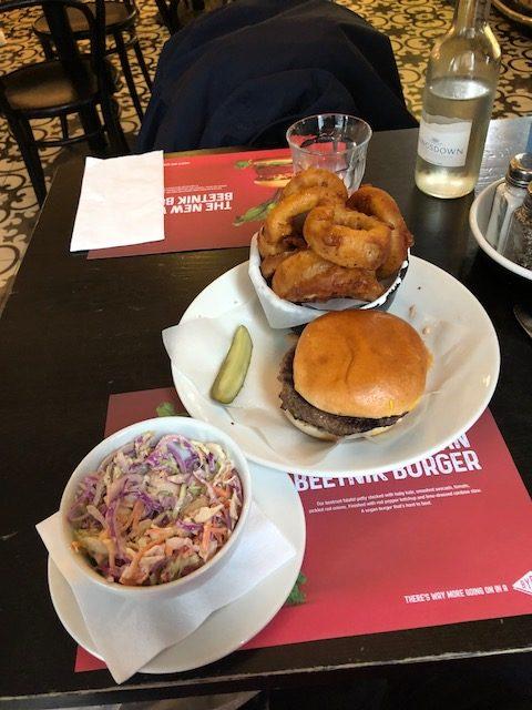 Cole slaw, burger, onion rings