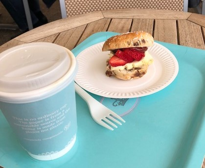 A coffee and a scone