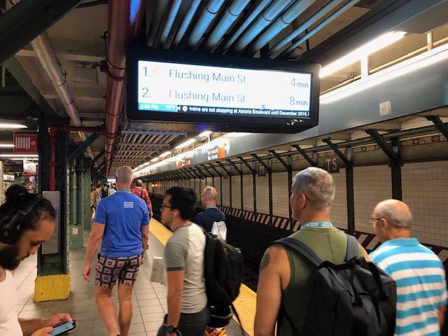 Subway platform, heading to Flushing Meadows