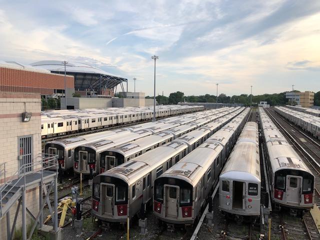 Trains near Flushing Meadows, Arthur Ashe Stadium