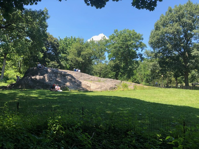 A huge rock protuding from a grassy knoll with people sitting on it
